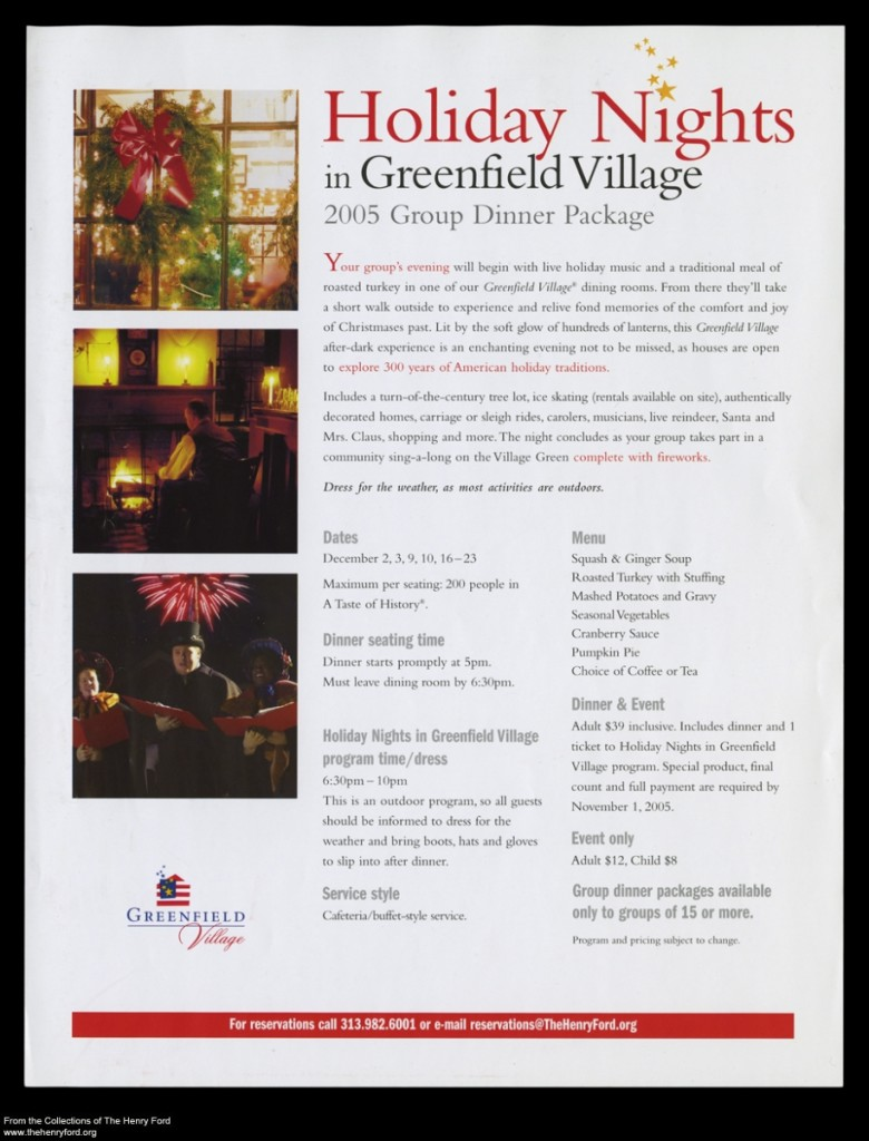 Informational Leaflet, 'Holiday Nights in Greenfield Village,' 2005.