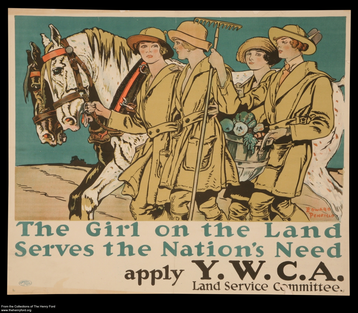 "World War I Poster, ""The Girl on the Land Serves the Nation's Need,"" circa 1917"