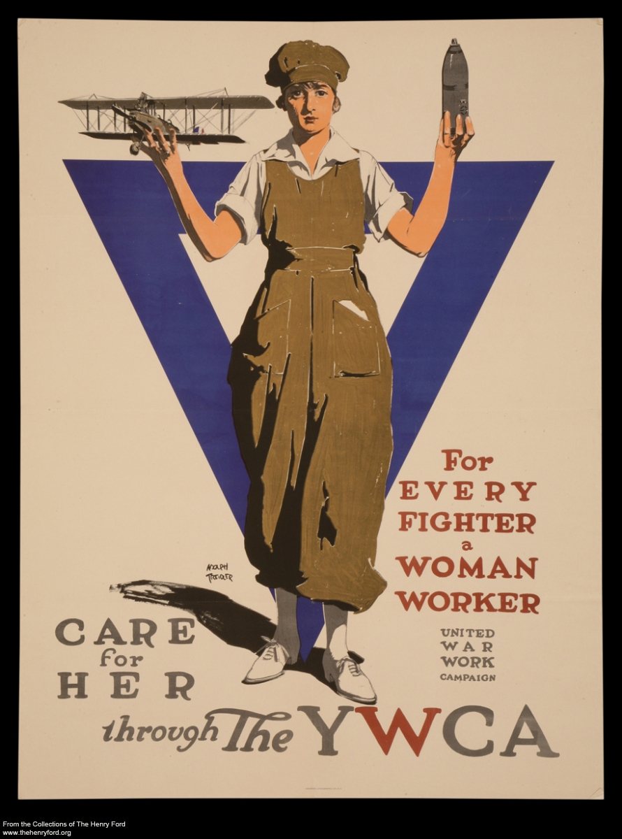 "World War I Poster, ""For Every Fighter, a Woman Worker,"" circa 1918"