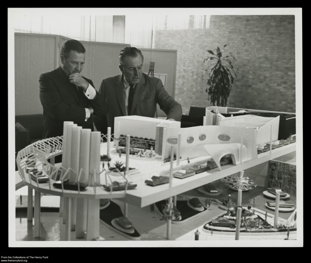 Henry Ford II and Walt Disney in 1962 with Model of the Ford Pavilion for the 1964-1965 New York World's Fair