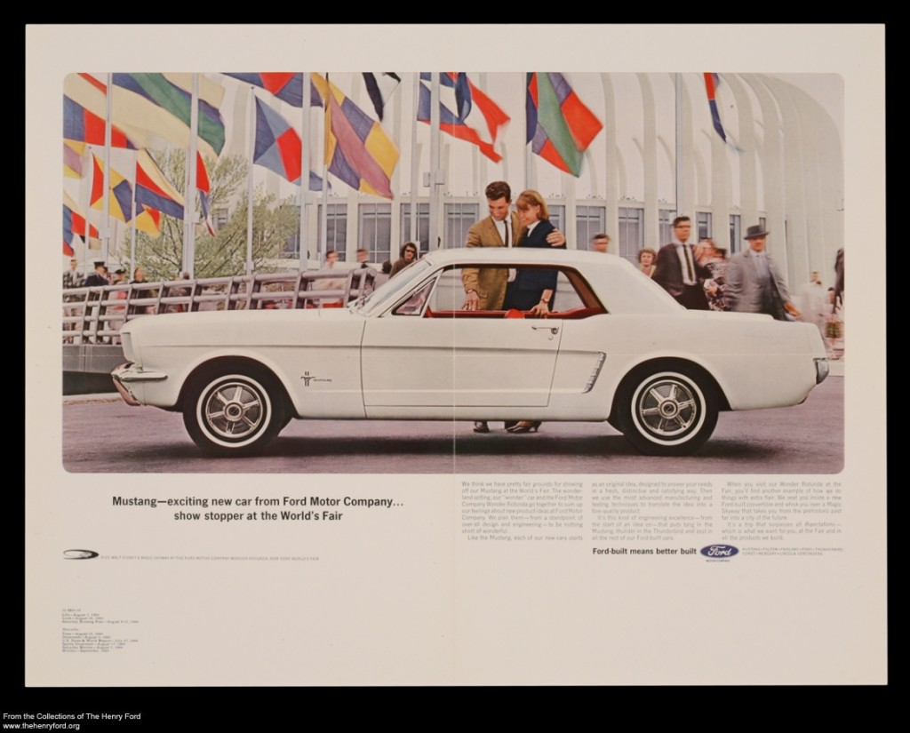 "Advertisement for the 1965 Ford Mustang, ""Exciting New Car from Ford Motor Company"""