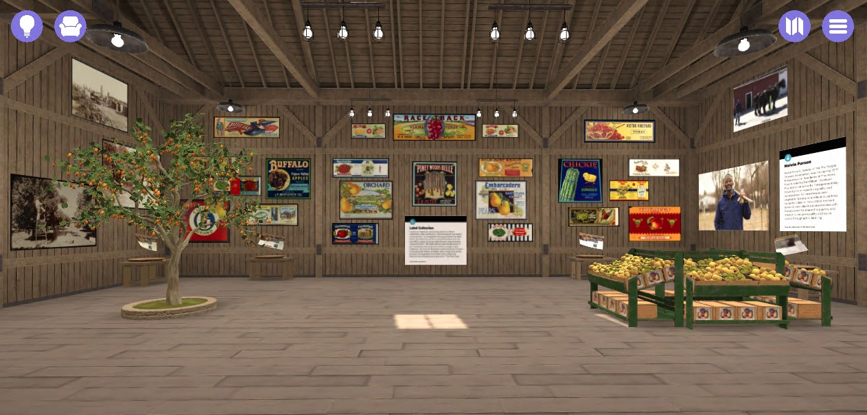 Virtual barn-like space with many colorful images on the walls, with fruit tree & crates as well