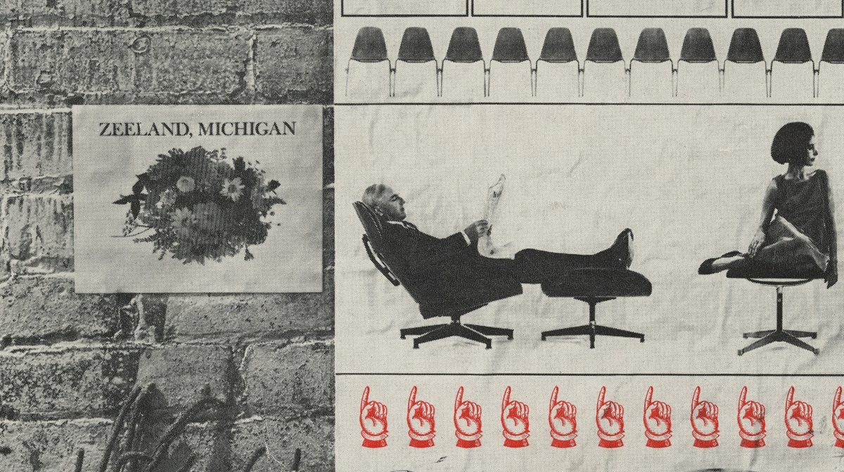 "Black-and-white image of flowers and text ""ZEELAND, MICHIGAN"" against brick wall on left; on right images of people and chairs and red pointing finger icons"