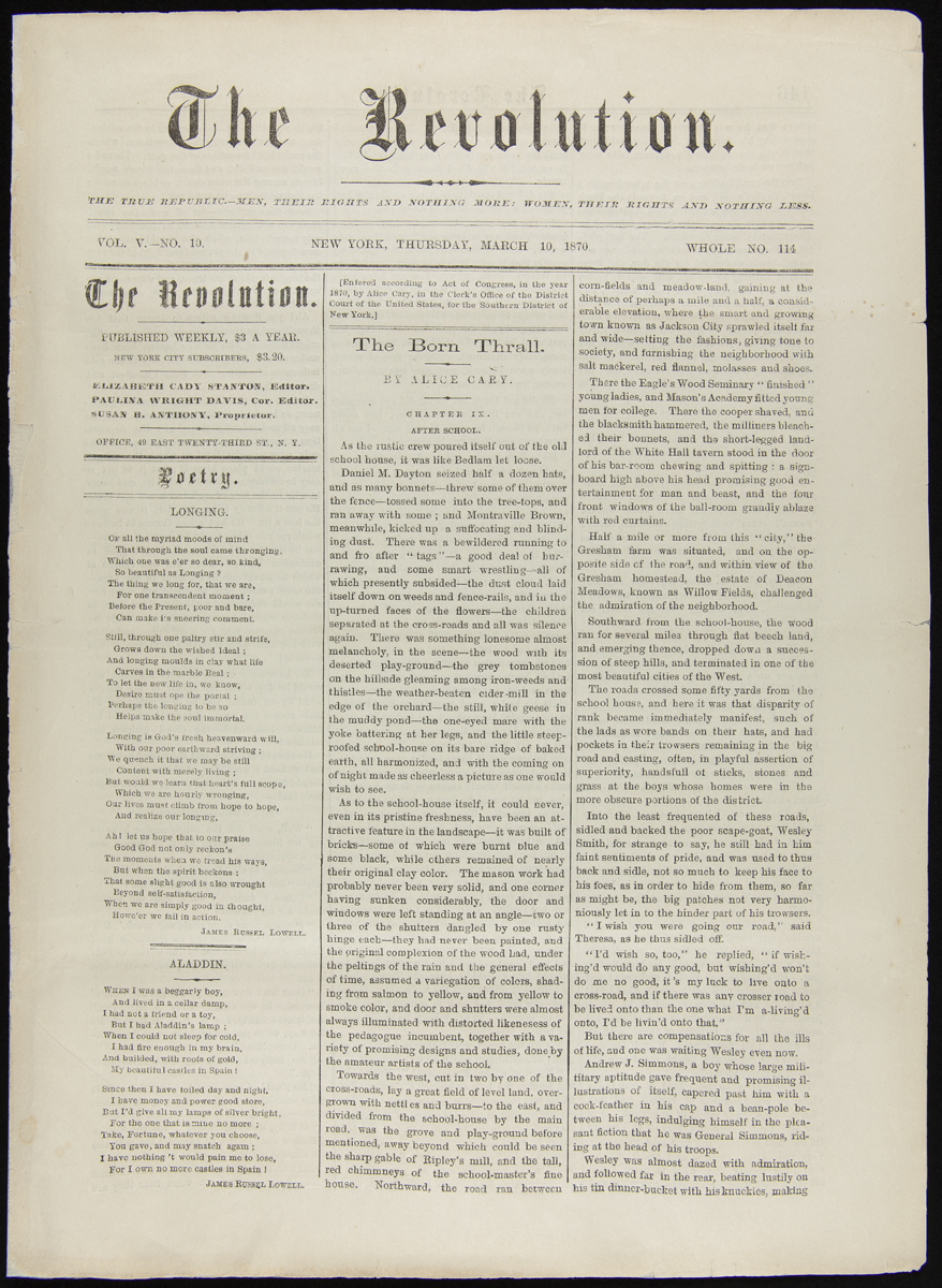 "Three-column newspaper page with title ""The Revolution"" at top, with two poems in left column and article ""The Born Thrall"" by Alice Cary in the two right columns"