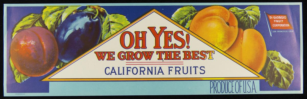 Label with red and purple plums on left side; peaches or nectarines on right side; triangular shape in middle containing text