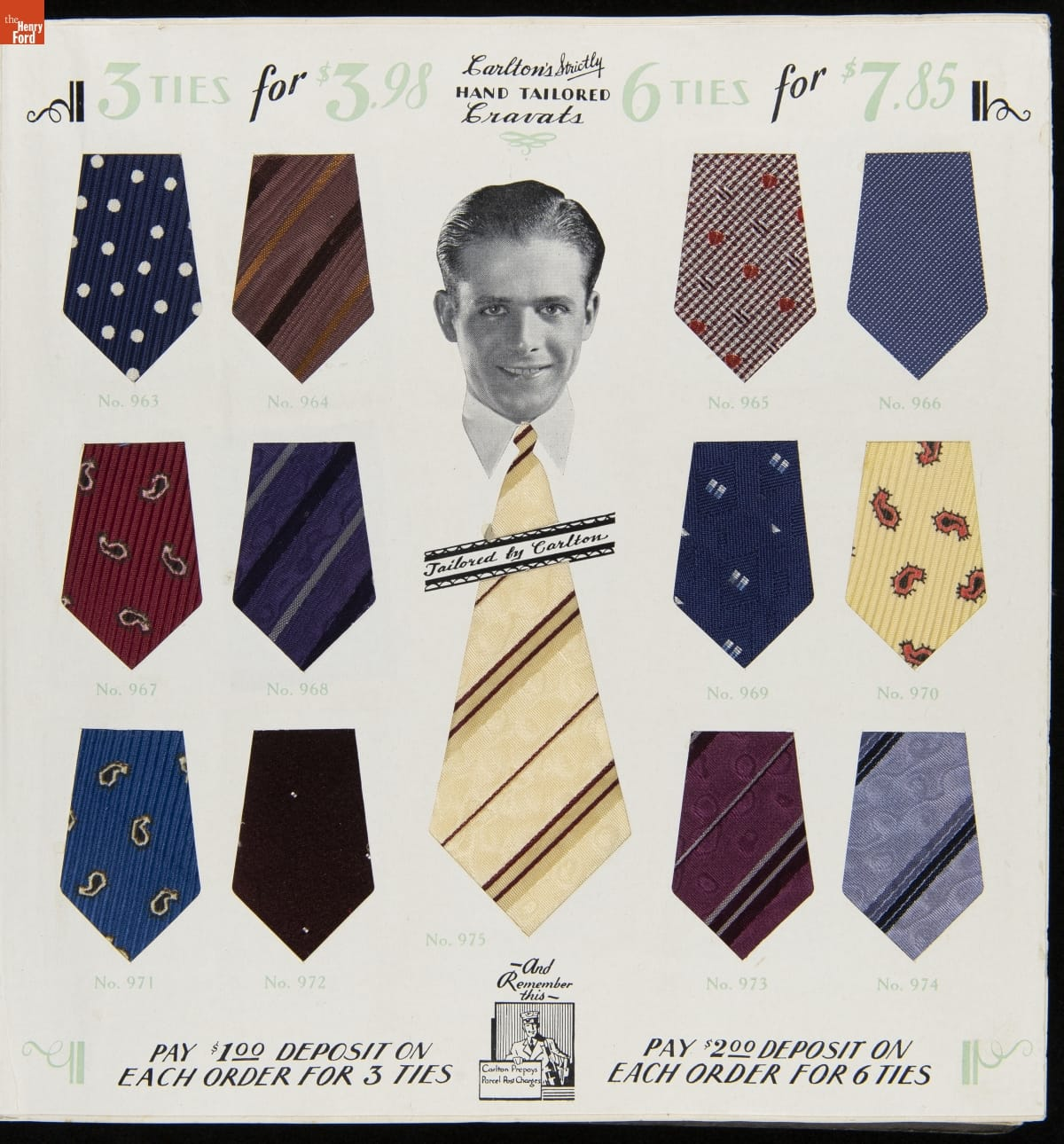 Black-and-white photograph of man's head and collar in middle of page with an oversized yellow striped necktie extending below; additional tie colors and patterns in shapes that look like the bottom of neckties on either side of middle illustration with numbers under each; text at top and bottom of page