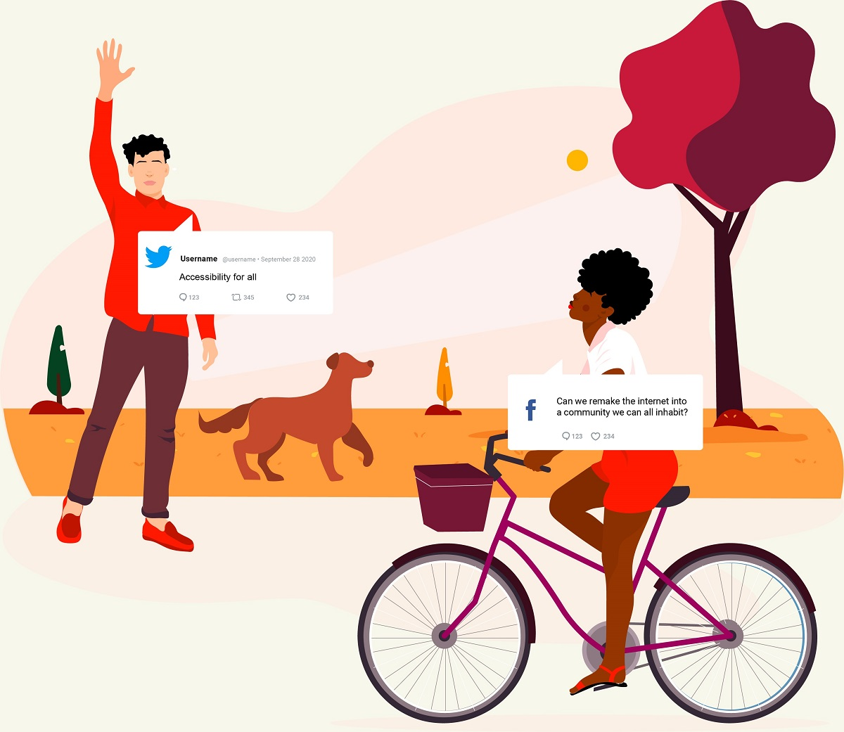 "Man with dog waves to woman on bike; both have social post-like ""speech bubbles"" containing text"