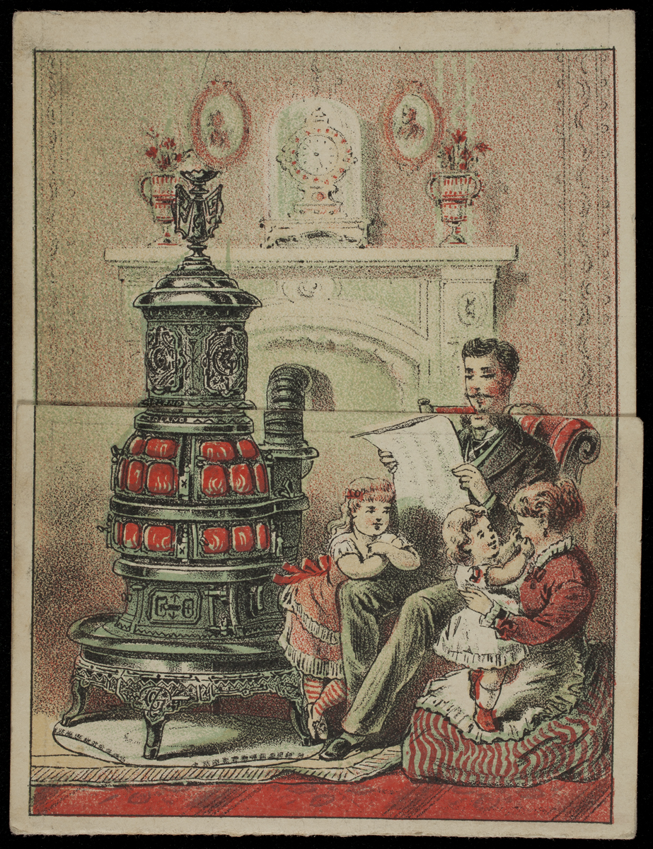 Printed family scene with man reading newspaper in a chair, woman holding little girl at his feet, and another little girl at the other side of his chair, all around a metal heating stove