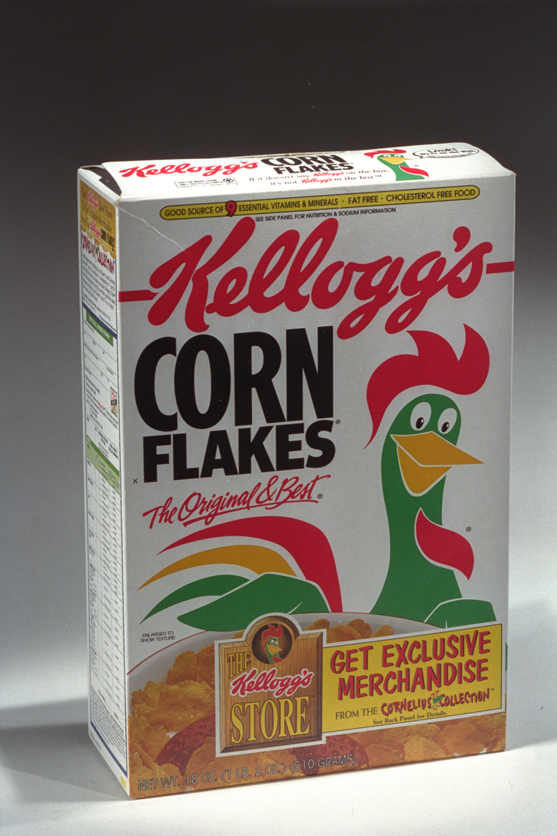 White Kellogg's Corn Flakes box featuring a green and red rooster, c. 1995