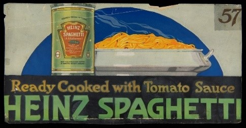 Image of can next to platter holding pasta; also contains text