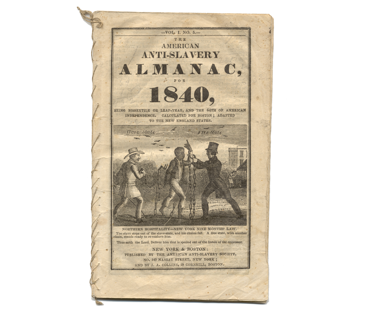 "Yellowed cover with image of two white men in suits holding an African American man in chains and title reading in part ""The American Anti-Slavery Almanac for 1840"""