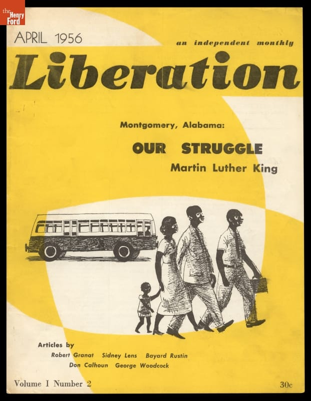 Magazine cover with yellow and white background, text, and image of three adults and one child walking in foreground with bus in background