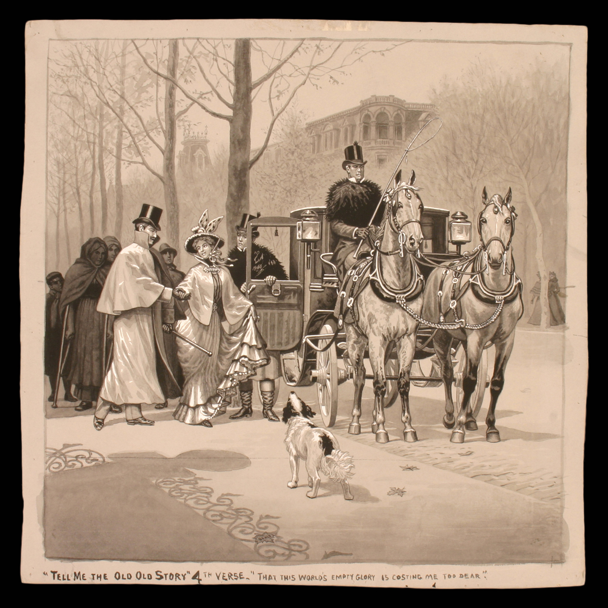 Well-dressed man and woman walk toward an open carriage door, with other people and a dog nearby