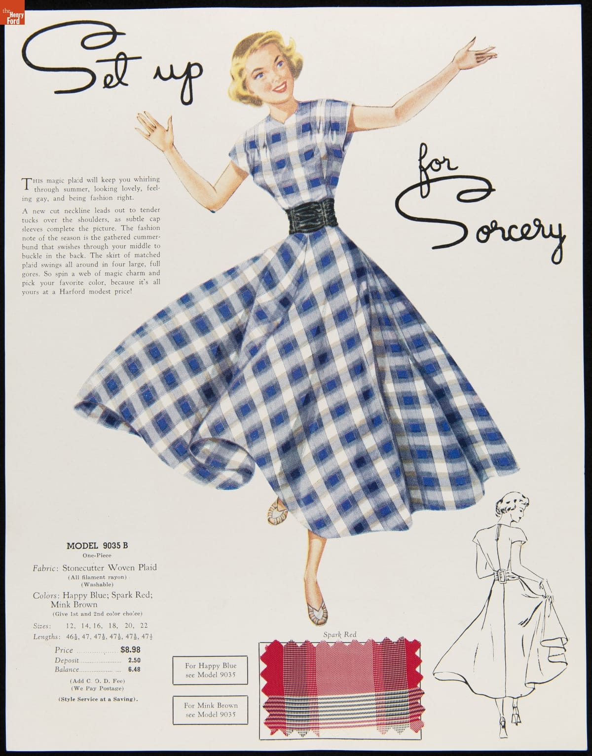 Illustration of blonde-haired woman in blue and white plaid dress and wide black belt; page also contains smaller black-and-white line drawing of back of woman in the same dress, a fabric swatch in a red plaid, and text