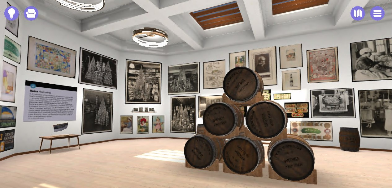 Virtual gallery space with artifacts on walls and a stack of barrels