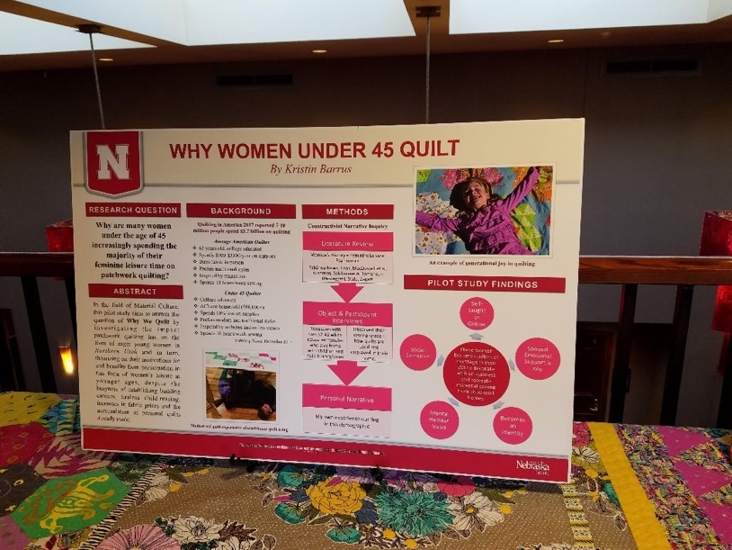"Board titled ""Why Women Under 45 Quilt,"" containing text and images, sitting on quilt"