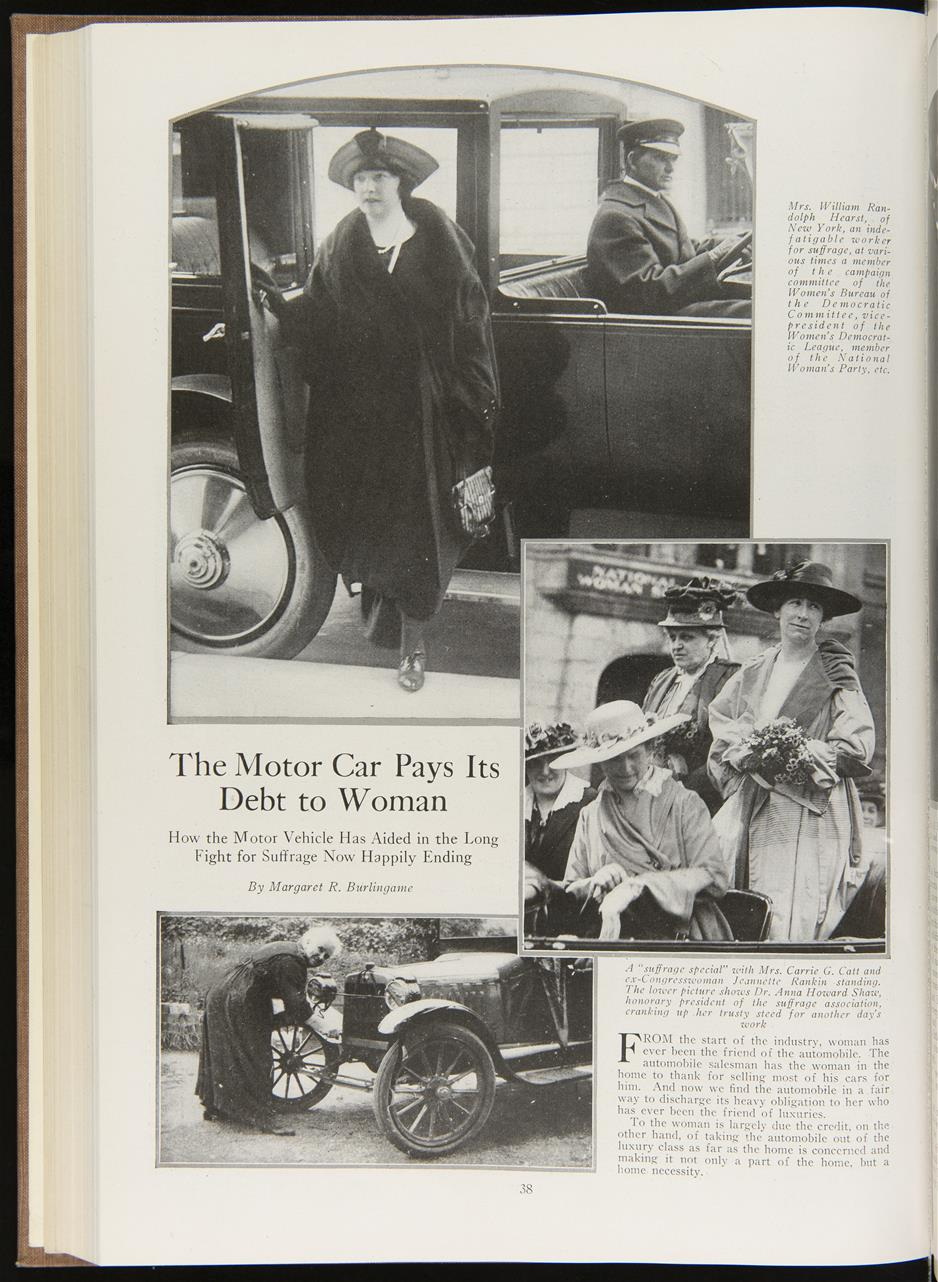 Magazine page with several images of women and cars, also text