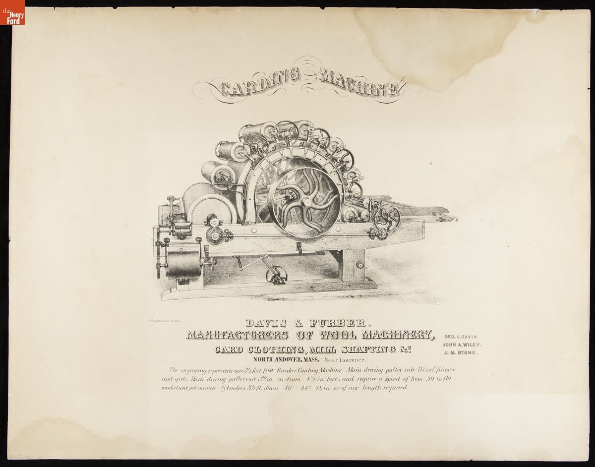 Etching of machine with multiple rollers arranged in an arch shape; also contains text