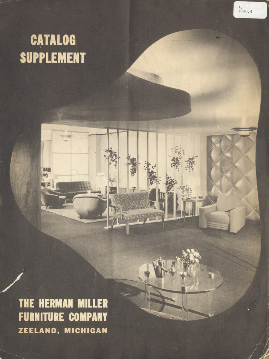 "View of modern living room with text ""Catalog Supplement: The Herman Miller Furniture Company, Zeeland, Michigan"""