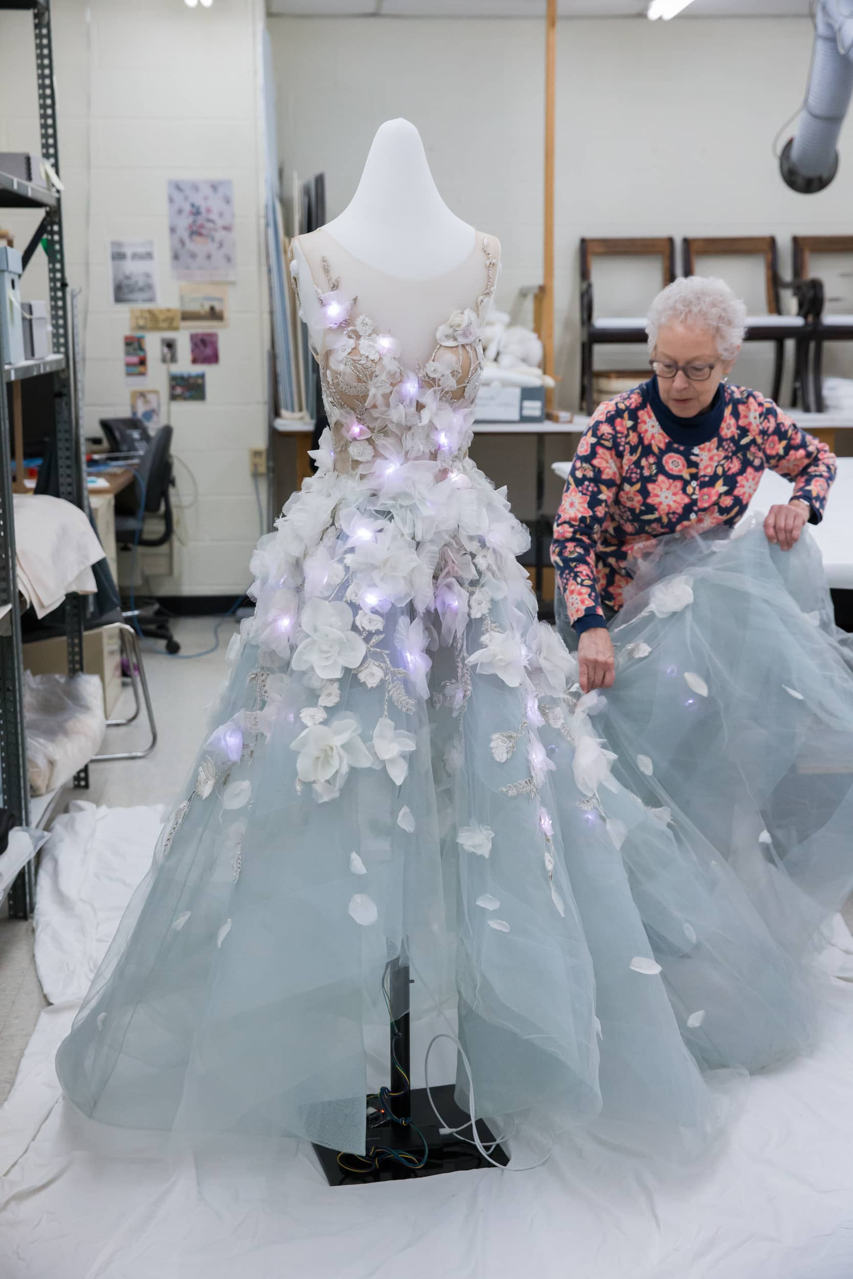 The Henry Ford Conservation Team dresses mannequin with IBM and Marchesa Cognitive Dress_KMSPhotography