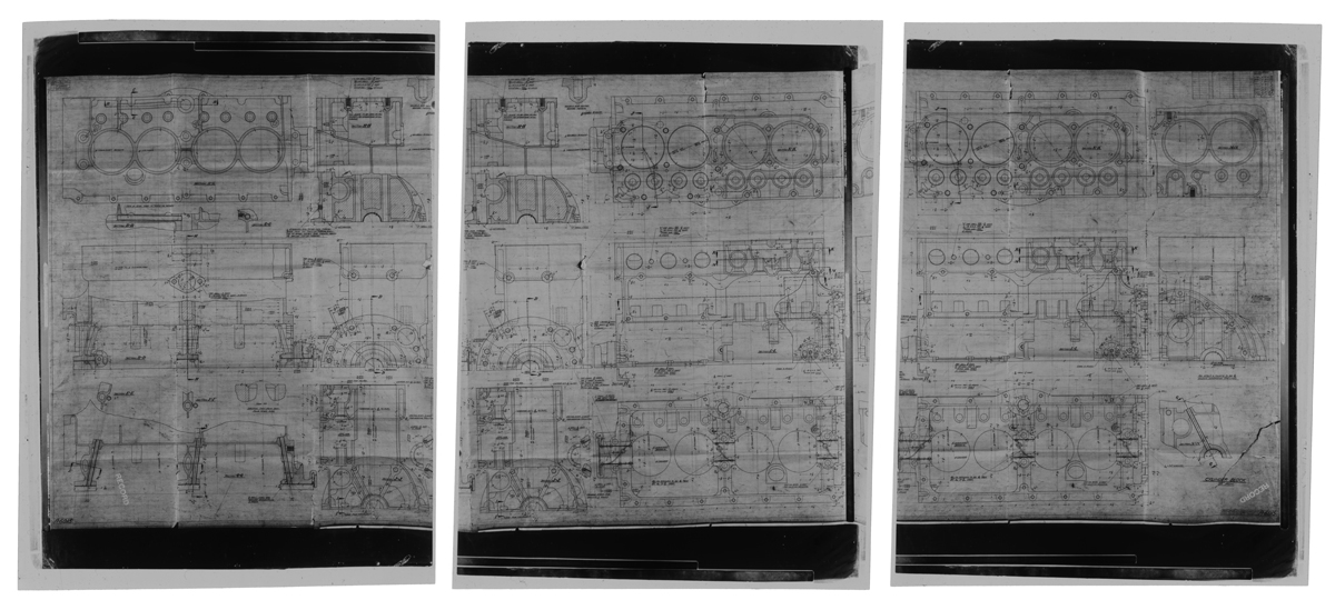 Three sheets with intricate drawings, notations and text