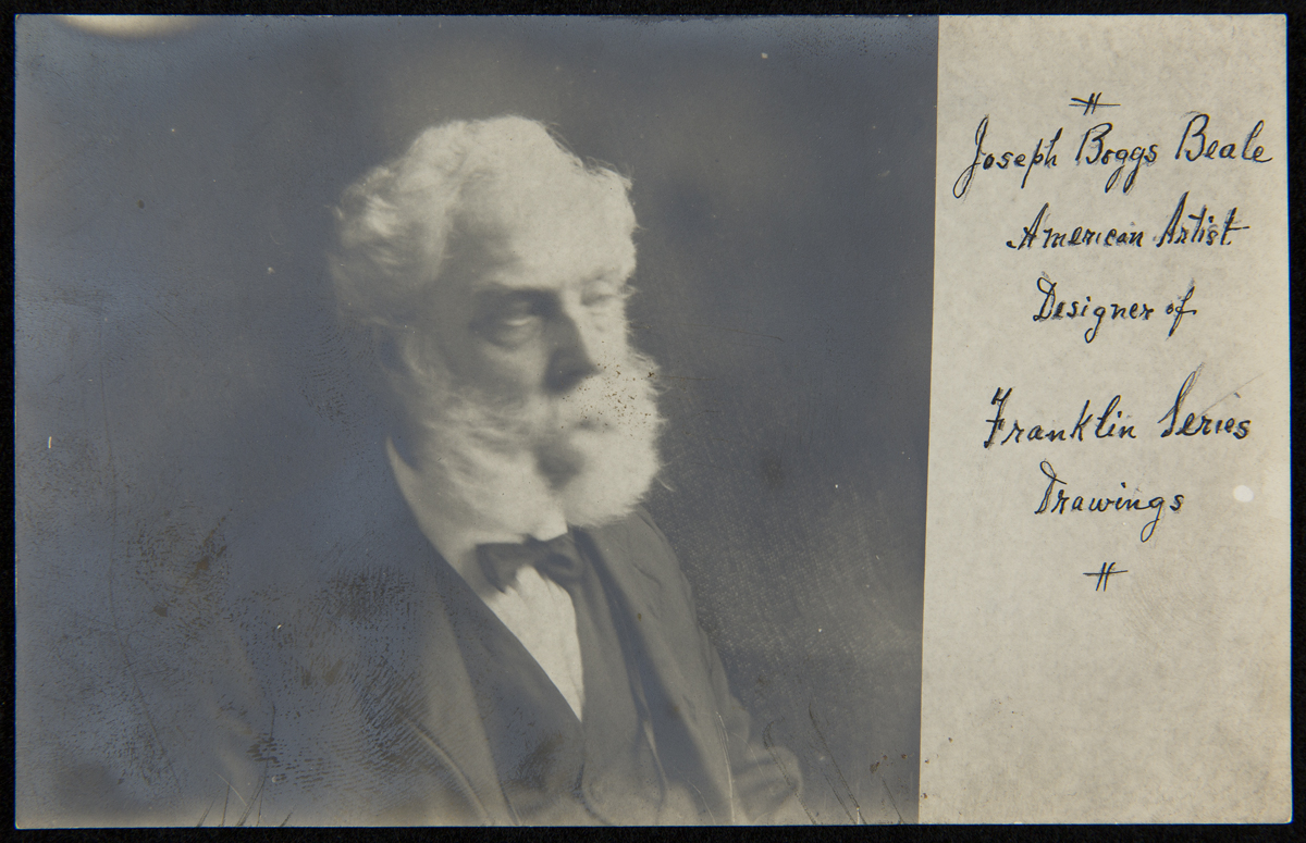 Black-and-white portrait of man in suit with white hair, beard, and mustache; cursive text on one side