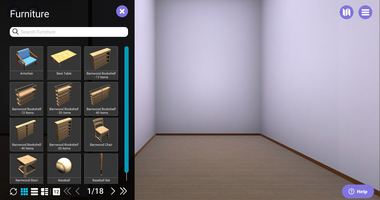 "Empty virtual room on right; ""furniture"" panel on left with chair and shelf options"