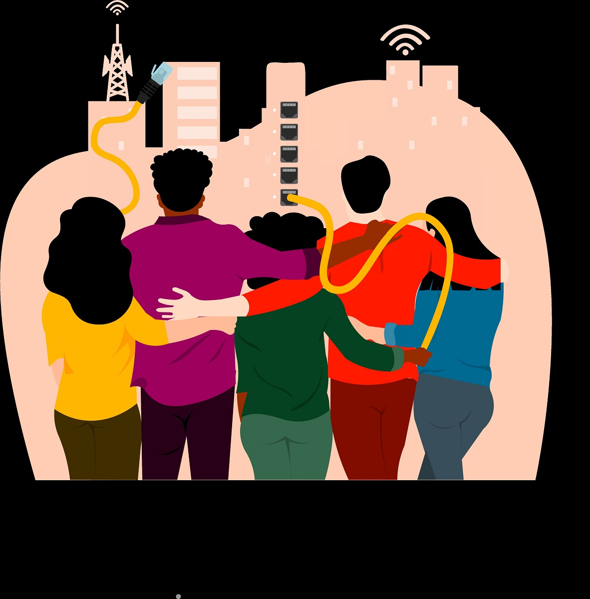 Illustration of five people, backs to the viewer, arms around each other, looking at a cityscape with with USB cords plugged into buildings and wifi/Internet symbols