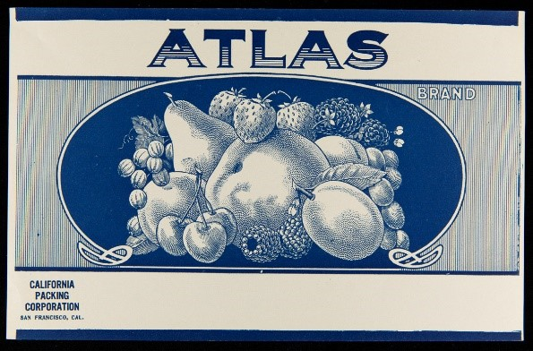 "Etching of a variety of fruit in blue tones; contains large text ""Atlas"""