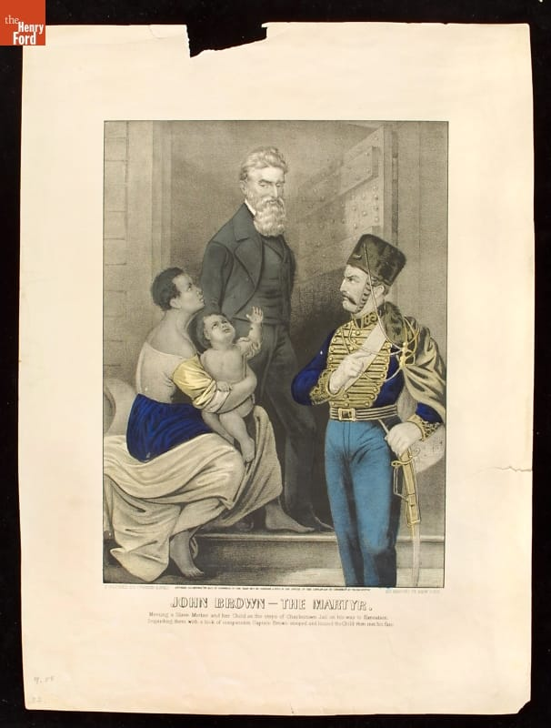 Print of Black woman holding child and kneeling at the feet of standing man in suit; man in uniform stands beside them