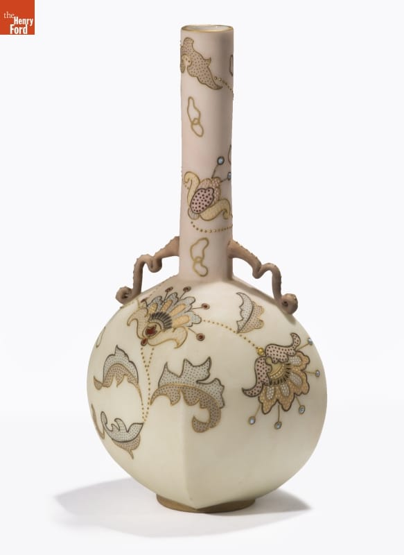 Ecru-colored vase with wide body and thin neck, decorated with floral pattern in shades of beige and brown
