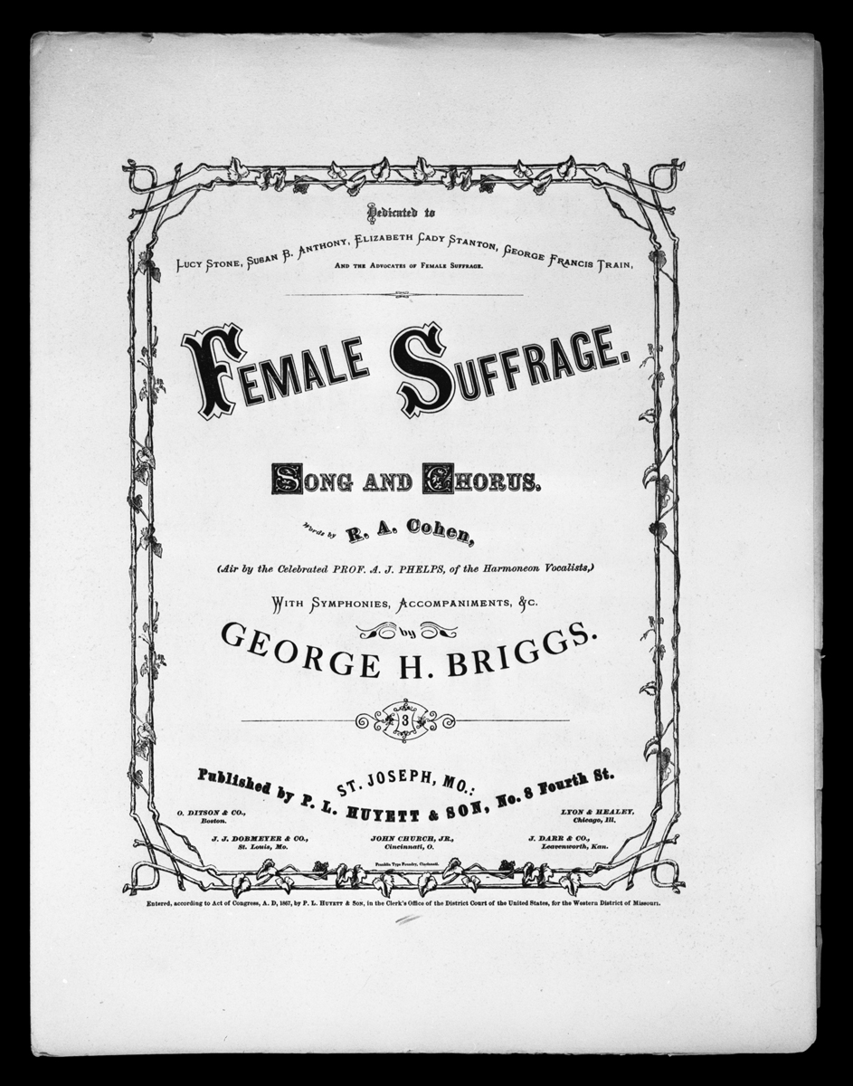"Black and white cover sheet featuring title ""Female Suffrage: Song and Chorus"""