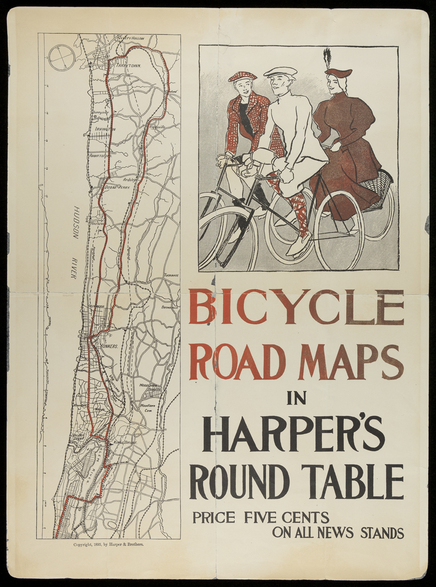 Page with drawing of three people on bicycles, map, text