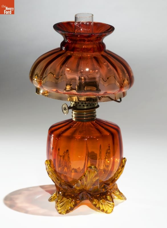 Orange and yellow glass kerosene lamp