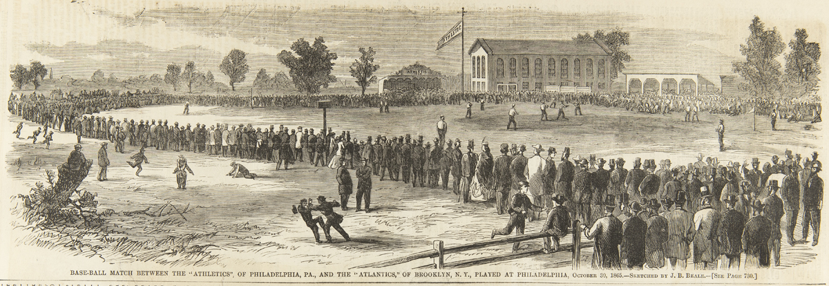 Illustration of a crowd of people around a grassy area where baseball is being played