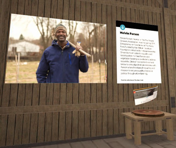 Virtual space with image of smiling man with shovel and text panel on wooden wall