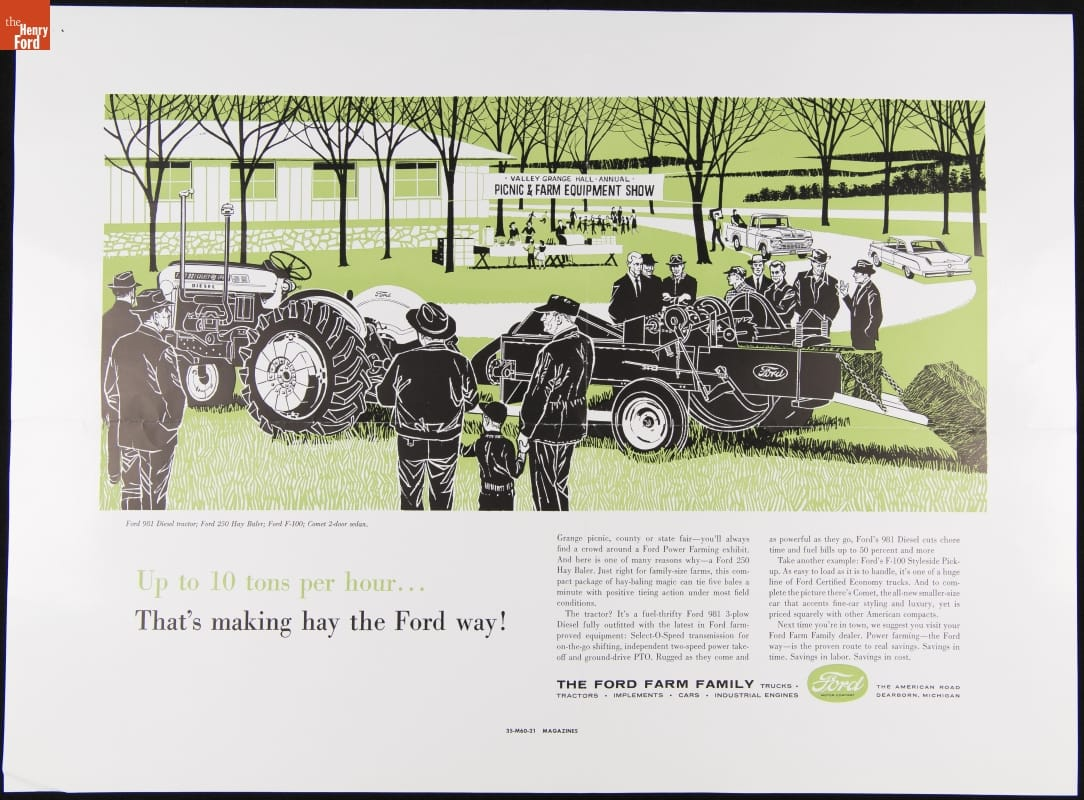 1960 Advertisement for the Ford 981 Diesel Tractor and Ford 250 Hay Baler