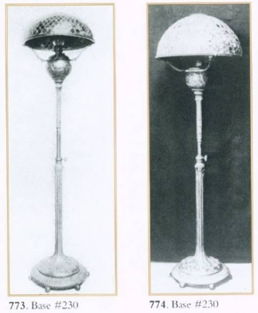 Two black-and-white images of floor lamps next to each other
