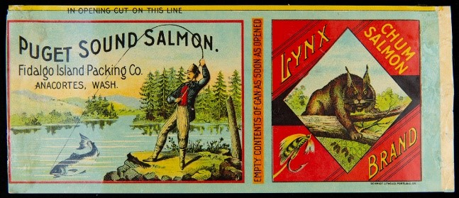 Label with two parts--one showing man fishing on the edge of a lake; the other showing a lynx in a diamond shaped space bordered by red; also contains text
