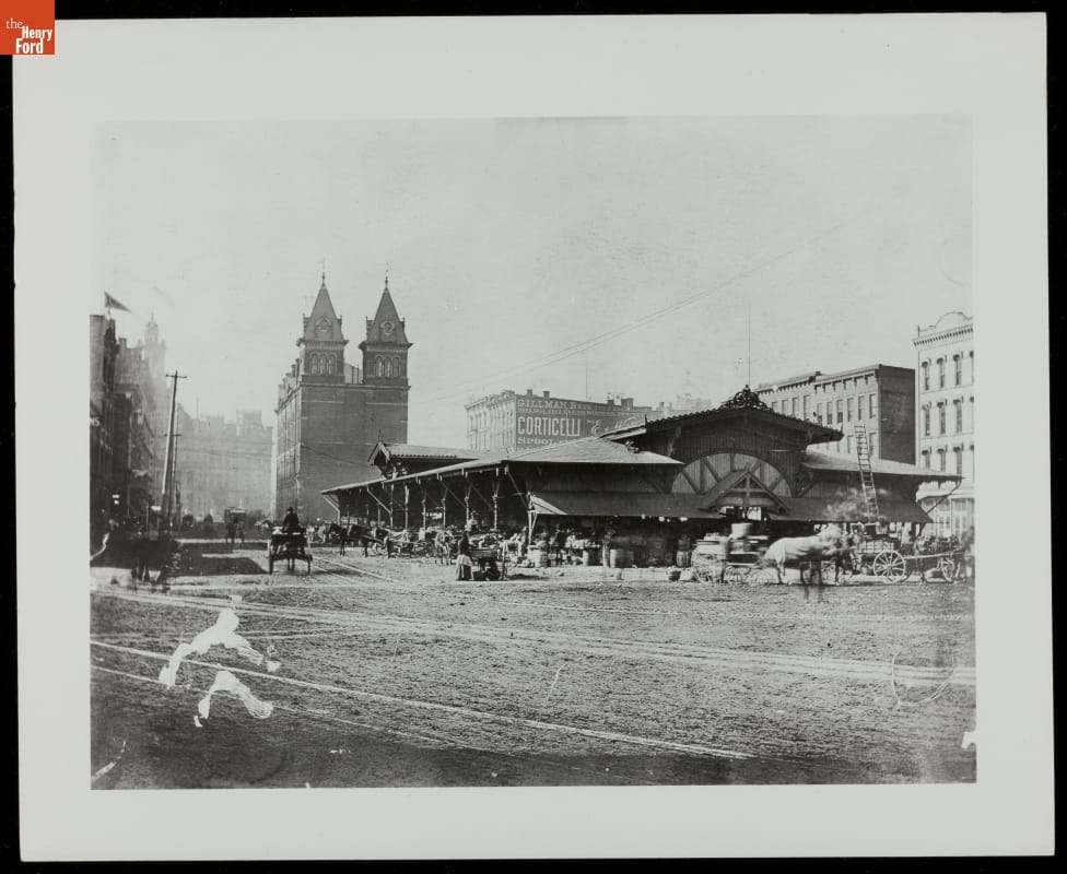Vegetable Building at Detroit Central Farmers Market, circa 1888.