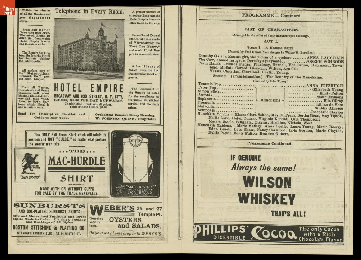 "Two pages with ""List of Characters, Act I,"" and ads with images and text"