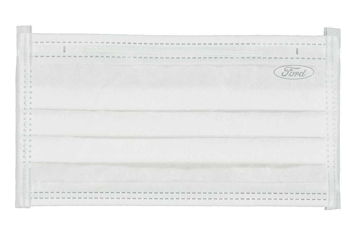"White surgical face mask with subtle ""Ford"" oval logo in upper right"