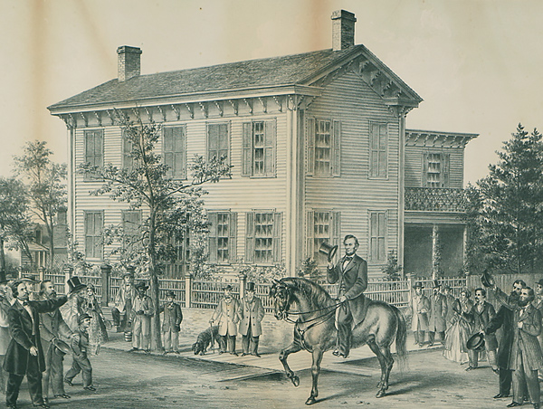 Mr. Lincoln, Residence and Horse as They Appeared on His Return from the Campaign with Senator Douglas, 1858