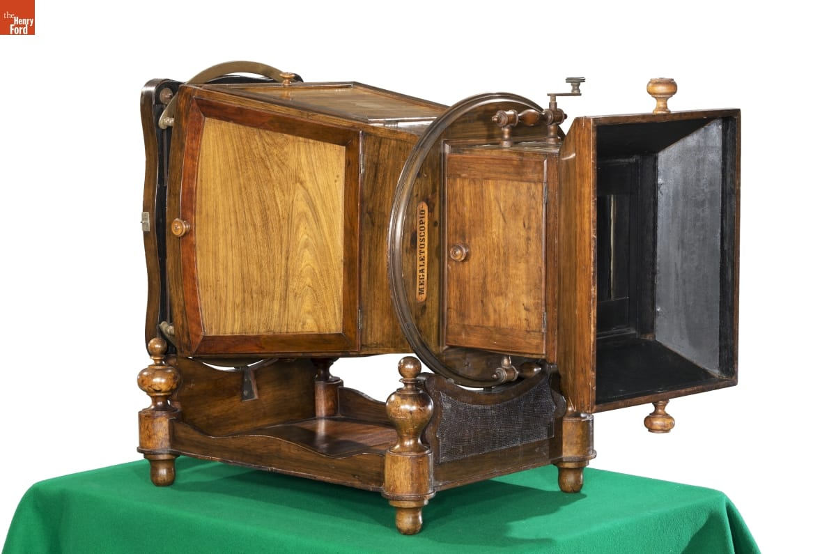 Large wooden projector-like apparatus