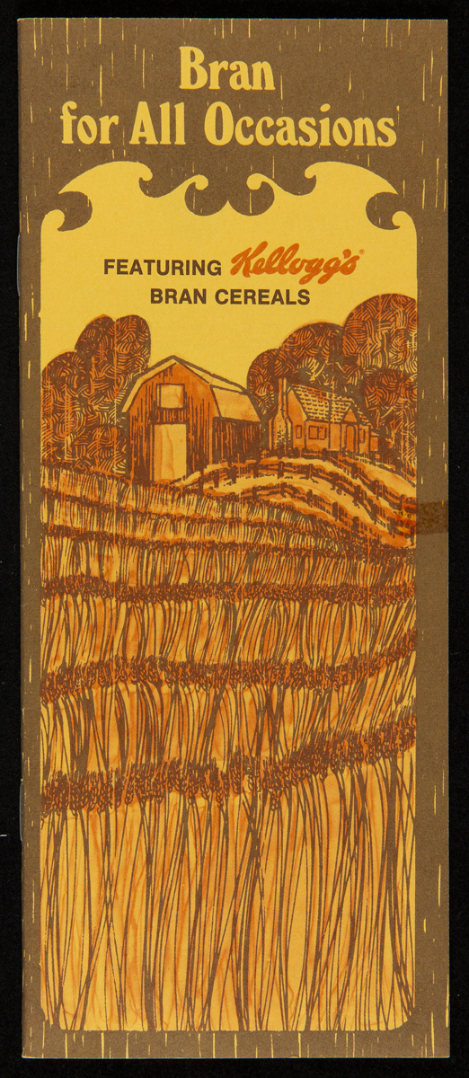 "Brown and yellow cover of recipe booklet, Bran for All Occasions, ""featuring Kellogg's bran cereals,"" ca. 1982, showing a barn and field"