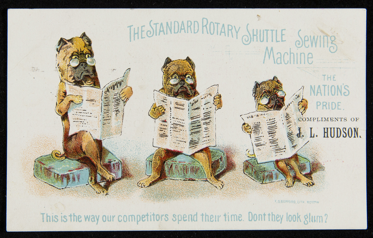 Card with drawing of three dogs wearing glasses and reading newspapers; also contains text