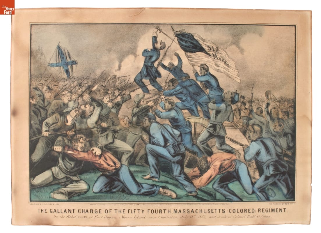 Print of Black men in blue uniforms, led by a white man in a blue uniform, clashing with men in gray uniforms