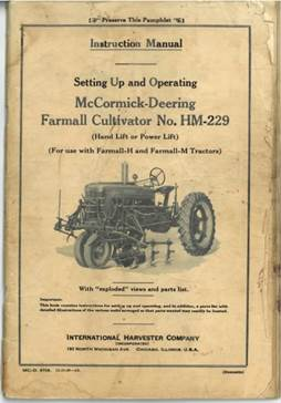 Manual cover with text and image of tractor