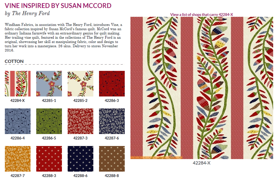 Vine inspired by Susan McCord  42284 X  Windham Fabrics