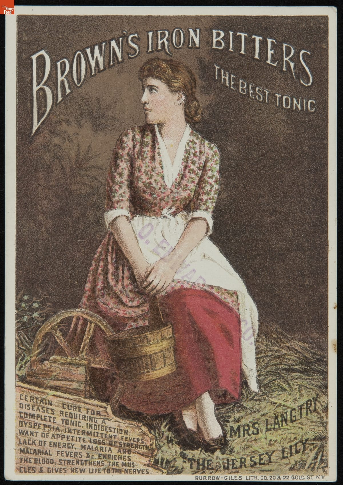 Sitting woman in floral dress with white apron, holding pail; also contains text